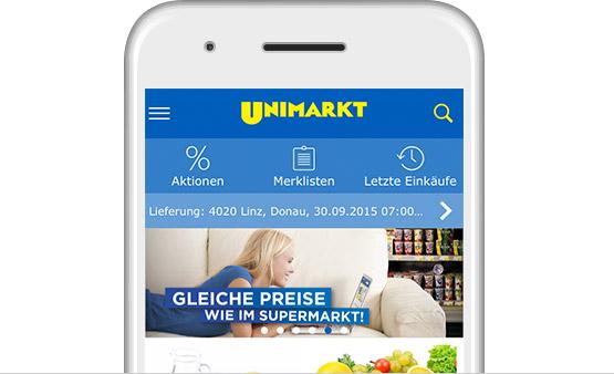 shopping app einfach g nstig online lebensmittel kaufen unimarkt online shop. Black Bedroom Furniture Sets. Home Design Ideas